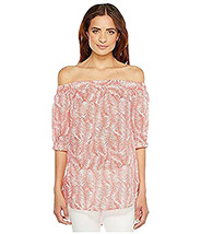 Michael Kors Womens Printed Off The Shoulder Casual Top L 4539-3 - $27.76