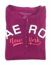 Aeropostale Womens Long Sleeve Henley Shirt Purple Small New York - $18.99