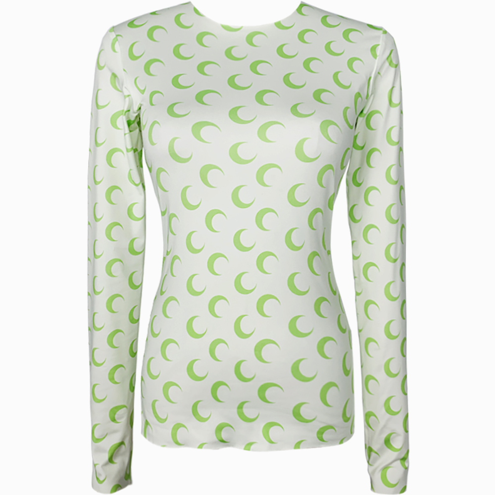 Marine Serre Crescent Moon-print Long-sleeved T-shirt Stretch Top White/Green