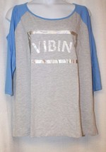 NEW WOMENS PLUS SIZE 3X VIBIN'  GRAY WITH BLUE COLD SHOULDER SLEEVES TOP - $16.44