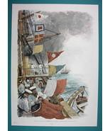 NEW YEAR at Sea Flags Signals Ship Sailors - COLOR VICTORIAN Era Print - $12.15