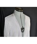 LOFT Light Sweater wrap L Metalic Gray Rayon Blend Button Strap Sleeve L... - $22.50
