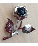 Vtg Silver Rose Pin Brooch Black Rough Cut Stone Unsigned - $19.95