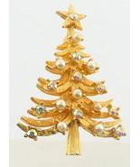 VINTAGE MYLU AURORA BOREALIS RHINESTONE & PEARLS GOLD TONE CHRISTMAS TRE... - $80.99
