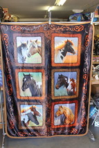 HORSE HORSES LUCKY IN LOVE THROW BLANKET BEDSPREAD SHERPA BACKING 50X60 - $803,87 MXN