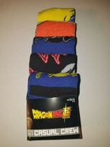Dragonball z super mens casual crew socks 5 pairs fits shoe size 8 to 12... - $20.95