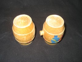 Vintage Wood Barrel Salt and Pepper Shakers - $8.86