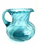 Antique Art Glass Aqua Blue Water Pitcher Blown Primitive Victorian Style - $142.56