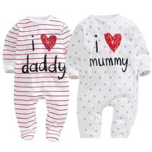 Cotton Baby Girl Clothes Polka Striped Baby Girls Romper Love Papa Mama ... - $20.99