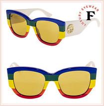 GUCCI White Rainbow Stripe 0276 Brown Geometric Green Sunglasses GG0276S Unisex - $279.18
