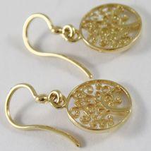Pendientes Oro Amarillo 750 18K Colgantes 2.4 cm, Árbol de Vida, Círculo, Italy image 3