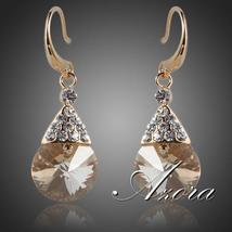 Gold Color Gold Round Stellux Austrian Crystal Drop Earrings - $12.95