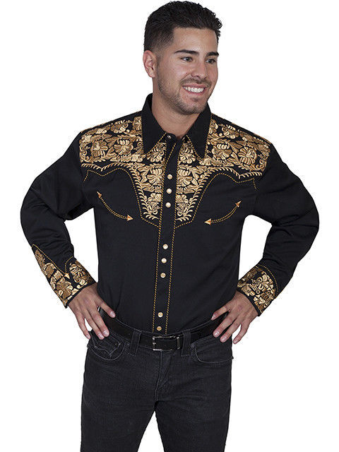 Primary image for Men's Western Shirt Long Sleeve Rockabilly Country Cowboy Black Gold Floral