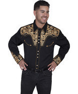 Men's Western Shirt Long Sleeve Rockabilly Country Cowboy Black Gold Floral - £66.76 GBP