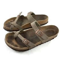 Birkenstock Taupe Brown Leather Sandals Toe Ring Buckles Womens 39 US 8 ... - $49.34