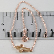 Armband Gold Pink 750 18K, Länge 18 cm mit Kreuz Eckig, Made in Italien - $141.98