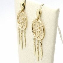 Yellow Gold Drop Earrings 750 18k, dreamcatcher, feathers, Italy Made image 2