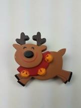 Hallmark Holiday Christmas Pin Smiling Reindeer Wearing Bells Brown Yell... - $9.65