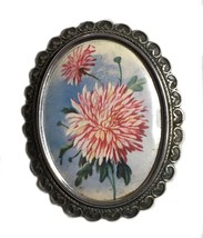 Vintage English Thomas L. Mott TLM Floral Lithographed Brooch - $35.63