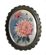 Vintage English Thomas L. Mott TLM Floral Lithographed Brooch - $35.63