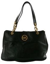 Michael Kors Hobo Shoulder Bag Black Pebbled Leather Fulton Chain Medium - $333.24