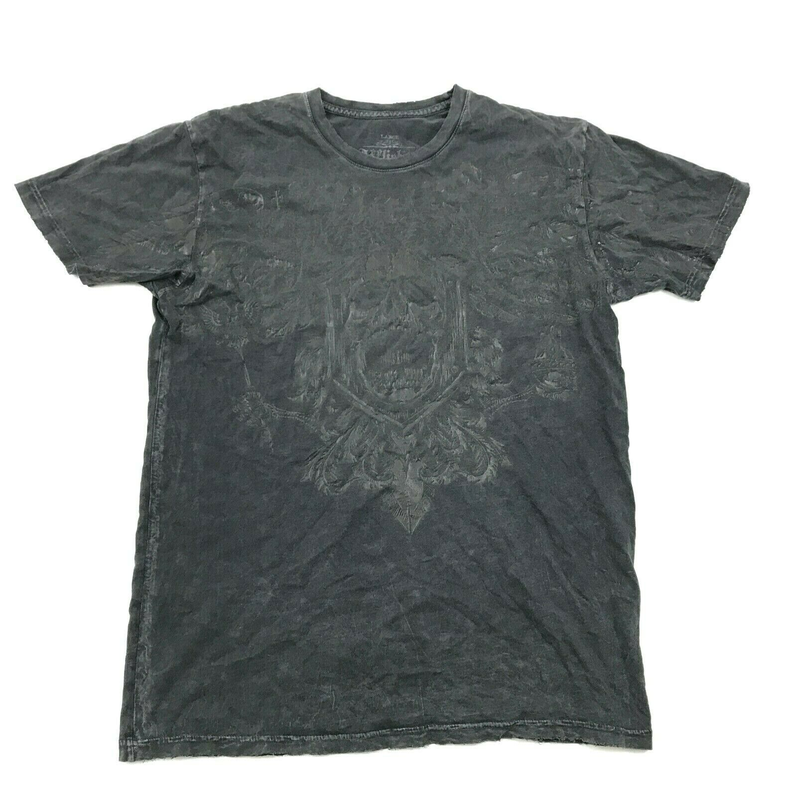 Fibbia Affliction Uomo Sdrucito T-Shirt Adulto Grande Signature Series USA Fatto