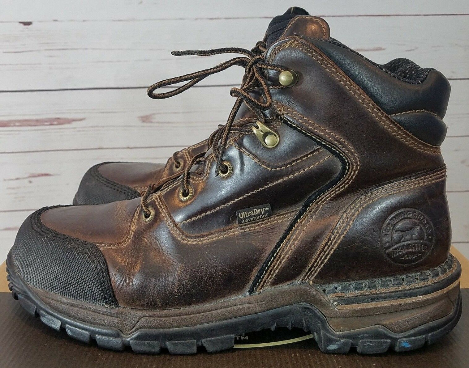 "Red Wing Steel Toe  Work Boots Irish Setter 6"" Lace Up Brown Women's Size 11 B/M"