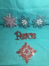 Lot Of 5 (five) Glitter Christmas Tree Ornaments Peace Blue Snowflake Re... - $21.28