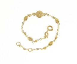 18 KT YELLOW GOLD BRACELET FOR KIDS WITH GUARDIAN ANGEL   MADE IN ITALY  5.91 IN image 1