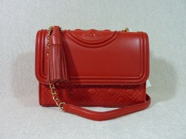 NWT Tory Burch Red Volcano Leather Small Fleming Convertible Bag - $405.67