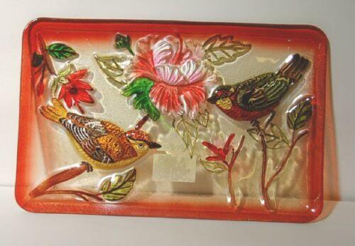Evergreen Enterprises 3FP33285 Bird Study Handpainted Glass Platter 9 x 14