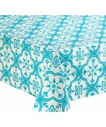"Peva Flannel Back Tablecloth (52""x70"") Oblong BLUE TILES ON WHITE by Safdie - $13.85"
