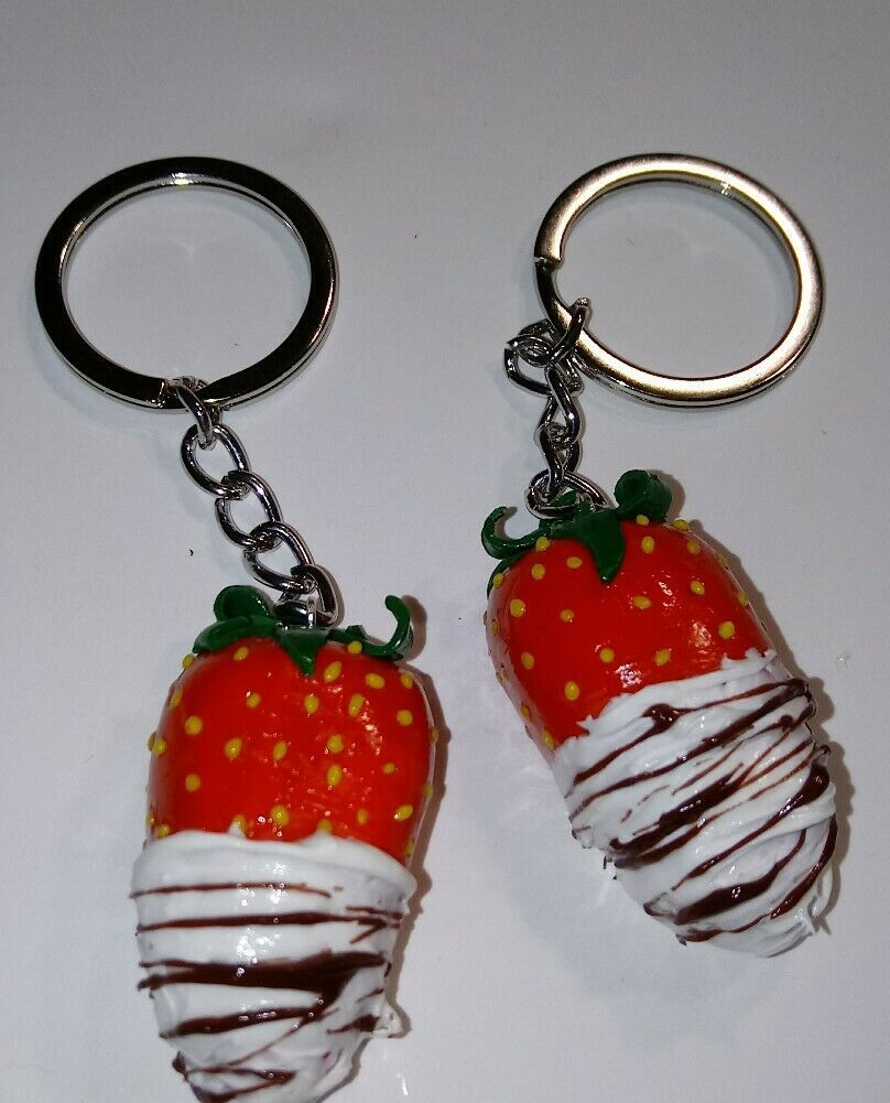 Primary image for Cute Strawberry BFF Keychain Set Clay Fruit Chocolate Drizzle Keyring Charms