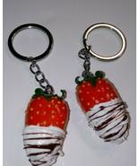Cute Strawberry BFF Keychain Set Clay Fruit Chocolate Drizzle Keyring Ch... - $7.00