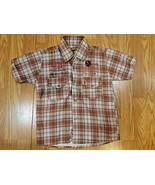 MUO Boys graphic button short sleeve plaid shirt size 8 - $10.88