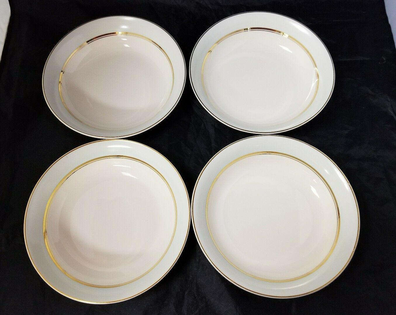 The French Saxon China Co Soup Salad Bowls Set of 4, 22kt Gold, Pottery Made USA image 7