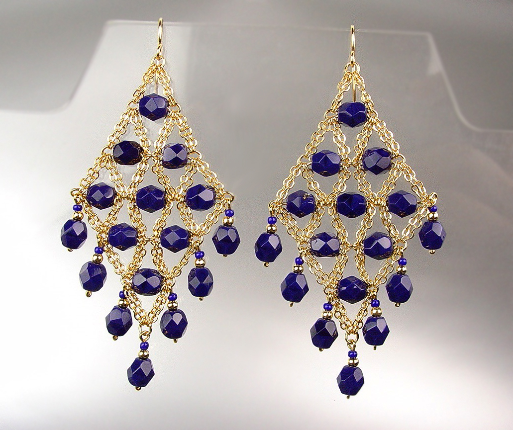 Primary image for EXQUISITE Navy Blue Lapis Crystals Gold Chandelier Peruvian Dangle Earrings