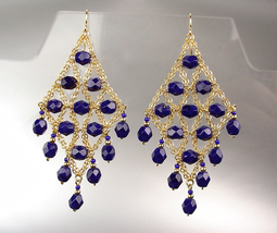 EXQUISITE Navy Blue Lapis Crystals Gold Chandelier Peruvian Dangle Earrings - $29.99