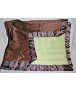 Koala Baby Blanket Green Brown Furry Diamond Dash Print Satin Stripes - $59.28