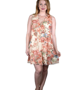 Plus size floral print mini dress with stylish neckline - $14.99
