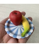 Our Generation Play Food Blue White Plate Red Apple Banana Plastic Fruit... - $8.90