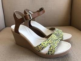 Crocs Flower Print Brown Rubber Slingback Wedge Sandals US 9 - $27.73