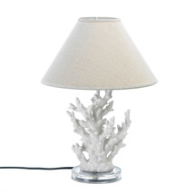 "*15678B  Coral Table Lamp 18 1/2"" White Resin UL Recognized - $57.05"