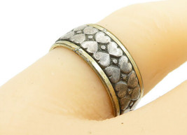 CLARK & COOMBS 925 Silver - Vintage Two Tone Love Heart Band Ring Sz 7- ... - $24.92