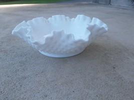 Fenton White Milk Glass Ruffled Edge Hobnail Small Decorative Candy Dish... - $19.75