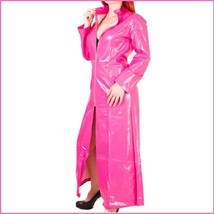 "Pink Shiny ""Wet Look"" Faux Latex Leather Zip Up Long Trench Rain Coat Jacket image 2"