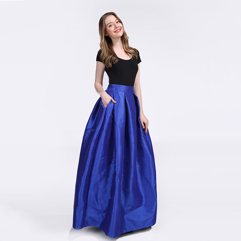 Women A-Line Ruffle Pleated Skirt Taffeta Fall Winter Long Pleated Holiday Skirt