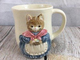 Otagiri 3D Mother Cat Coffee Cup Mug Hand Crafted Japan Momma Blue Dress - $14.92