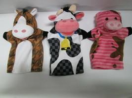 Melissa & Doug 3pc Farm Puppets Horse Pig Cow - $9.85