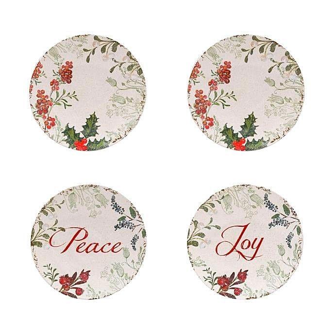 "Melamine Plates Peace Joy Wreath Appetizer Dessert 6"" Set of 4 Boxed Christmas"
